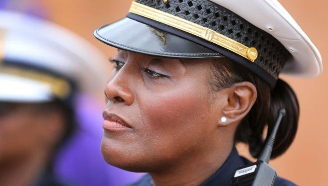 Lt. Danita Pettis, shown in a 2015 file photo, has filed a complaint with the Ohio Civil Rights Commission against police union president Sgt. Dan Hils.
