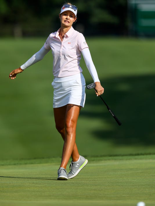 Nelly Korda reacts to her missed eagle putt on No. 18, during the second round of the LPGA Tour's Marathon Classic golf tournament Friday, July 21, 2017, at Highland Meadows Golf Club in Sylvania, Ohio. Korda birdied the hole. (Jeremy Wadsworth/The Blade via AP)