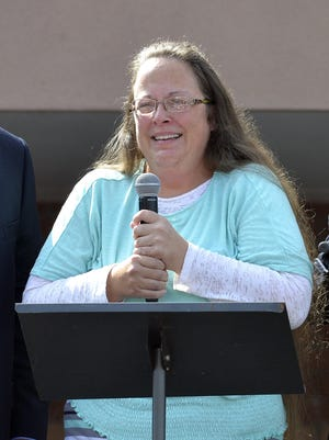 Rowan County Clerk Kim Davis speaks Tuesday after being released from the Carter County Detention Center in Grayson, Ky. Davis, the Kentucky county clerk who was jailed for refusing to issue marriage licenses to gay couples, was released Tuesday after five days behind bars.
