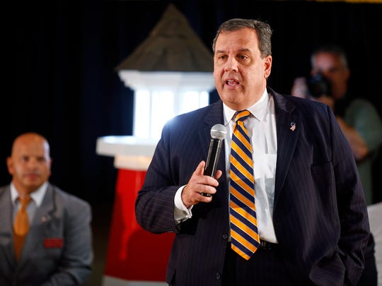 New Jersey Governor Chris Christie holds a town hall meeting on his new school funding formula at the Bayville Elks Lodge Thursday, September 15, 2016.