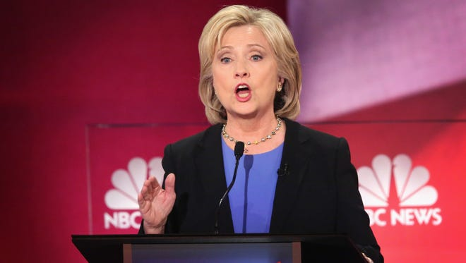 Hillary Clinton participates in the Democratic debate hosted by NBC News and YouTube on Jan. 17, 2016, in Charleston, S.C.