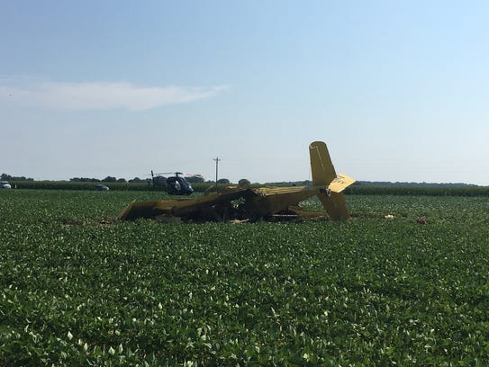 A crop duster crashed Wednesday morning southwest of