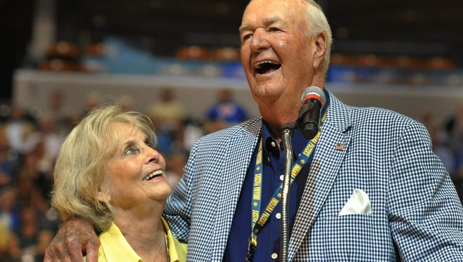 "Bobby ""Slick"" Leonard and wife, Nancy, laugh together as he spoke before the viewing of the documentary ""Heart of a Hoosier"" at Bankers Life Fieldhouse on July 29, 2014."