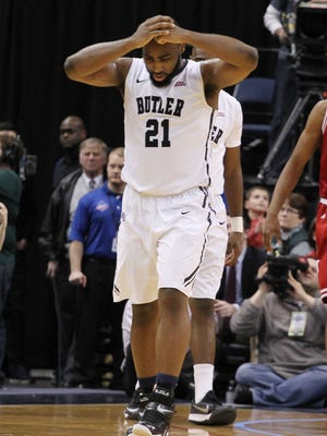Bulldogs forward Roosevelt Jones (21) looks dejected after losing to the Indiana Hoosiers at Bankers Life Fieldhouse. Indiana defeats Butler 82-73.