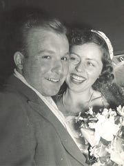 Tom and Doris Gilles on their wedding day in 1950. At the time Gilles Custard Stand in Fond du Lac had been open about a year.