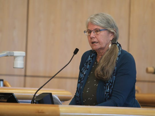 Ann Corrin speaks Tuesday at the Shasta County Board