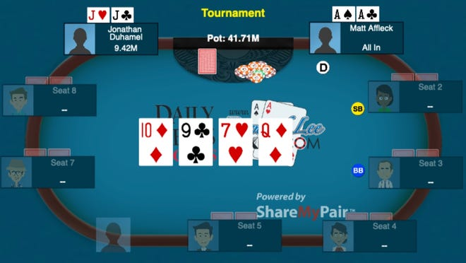 A pivotal hand before the final card was flipped at one of the tables during the 2010 World Series of Poker.