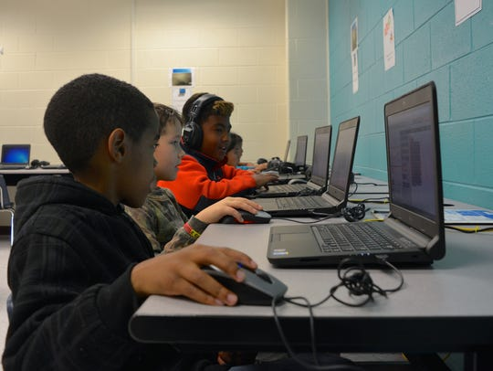 Fourth graders at North Georgetown Elementary School