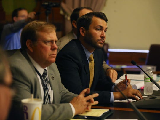 Rep. Bobby Kaufmann, chairman of the House Oversight Committee, listens to testimony from DHS administrators during a joint hearing with the Iowa House of Representatives and Senate to discuss the state's Department of Human Services process of how they care for and place children on Monday, June 5, 2017, in Des Moines.