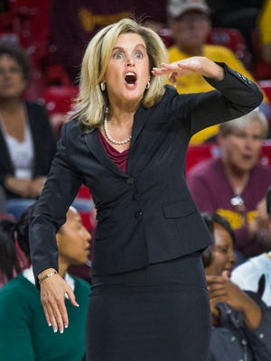 Arizona State head coach Charli Turner Thorne yells during second half action against Buffalo at Wells Fargo Arena in Tempe, Saturday, December 2, 2017.