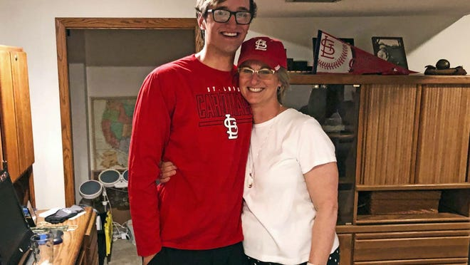 Missouri pitcher Ian Bedell, left, poses for a photo with his mother, Honey, after being selected by the St. Louis Cardinals on Thursday in the fourth round of the 2020 MLB Draft.