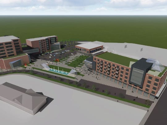 Aerial view of the proposed downtown railyard project in Sioux Falls.