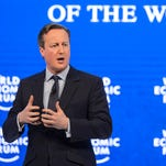 Britain's Prime Minister David Cameron gestures during a session at the World Economic Forum annual meeting in Davos, on Jan. 21, 2016.