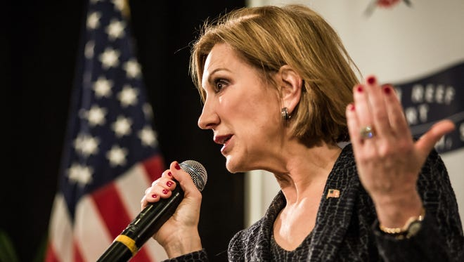 Carly Fiorina speaks to voters during a town hall meeting at the Ocean Reef Convention Center on Sept. 22, 2015, in Myrtle Beach, S.C.