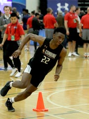 Hamidou Diallo, from Kentucky, participates in the NBA draft basketball combine Thursday, May 17, 2018, in Chicago. (AP Photo/Charles Rex Arbogast)