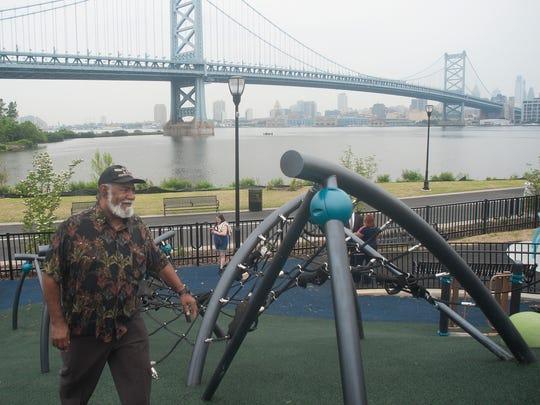 Camden resident, Rod Sadler walks around the playground