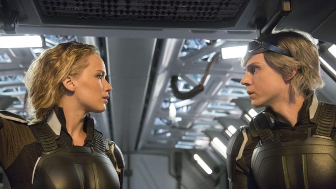"""Jennifer Lawrence, left, and Evan Peters appear in a scene from, """"X-Men: Apocalypse."""" The movie opens Thursday at Regal West Manchester Stadium 13, Frank Theatres Queensgate Stadium 13 and R/C Hanover Movies."""