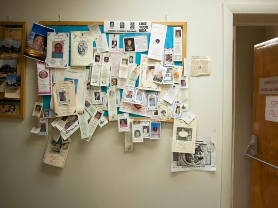 A memorial wall hangs in the hallway, in remembrance of patients that have passed away, at St. Luke's Catholic Medical Center in Camden on Wednesday, May 7, 2014. The office, located on State Street in North Camden, has been in practice for approximately 30 years and serve the mostly poor and/or uninsured community, allowing patients to pay what they can, when they can.