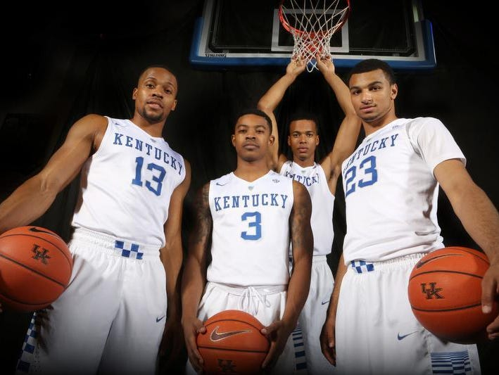 (From left) UK's Isaiah Briscoe (13), Tyler Ulis (3), Skal Labissiere and Jamal Murray (23).