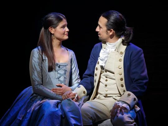 "Phillipa Soo and Lin-Manuel Miranda perform in Miranda's  ""Hamilton: An American Musical,"" one of Broadway's hottest tickets."