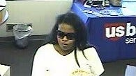 An image from a surveillance camera at U.S. Bank in Coralville shows Andrea L. Gathings, who is suspected of robbing the bank.