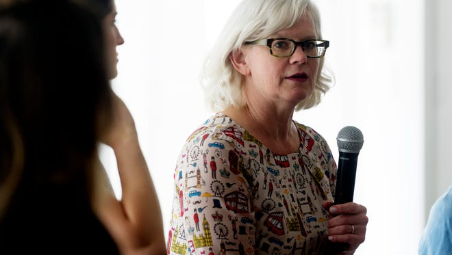 Peggy Hambright, owner of Magpies Bakery, speaks at a Lady Bosses of Knoxville roundtable discussion at The Hive, 854 N. Central, on women working in the food industry in Knoxville, Tennessee on Wednesday, August 2, 2017. A group of around 30 women attended the roundtable discussion to hear from four local female business owners.