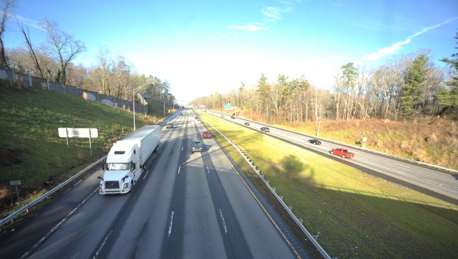 Interstate 40 from the bridge at Sand Hill Road in Candler.