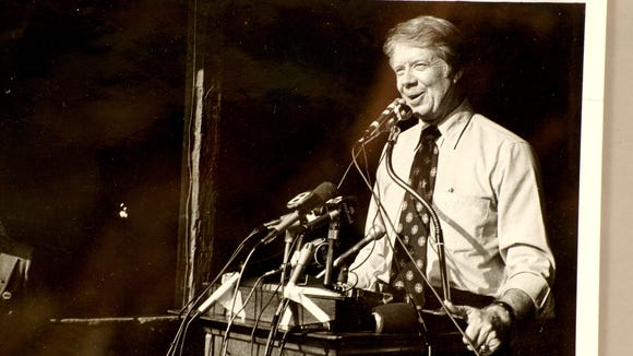 Georgia Gov. Jimmy Carter spoke at a campaign rally in Lewisberry in 1974 as part of his presidential campaign.