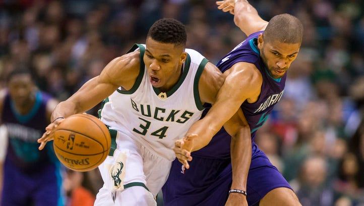 Milwaukee Bucks forward Giannis Antetokounmpo and Charlotte