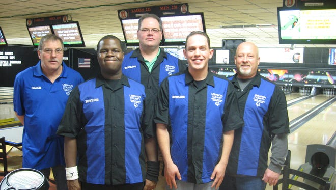 The Lebanon County Special Olympic's Unified Bowling Team is ready to compete at the  2016 National Unified Sports Bowling Tournament March 2-3. From left to right is Coach Floyd Knight, Athlete Timothy Moore and his unified partner Corey Swisher, followed by athlete Christian Murphy and his unified partner, Chip Blouch.