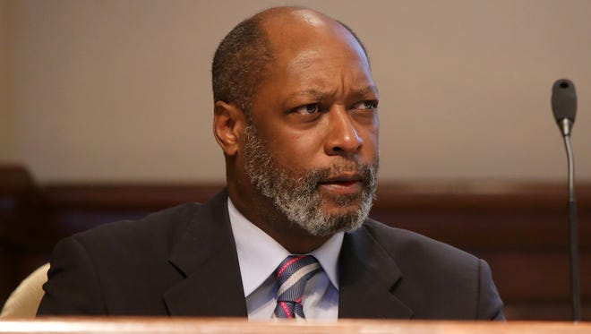 City Councilman Ernest Brooks II looks on during a city council meeting Tuesday in the George Smith Room at City Hall.