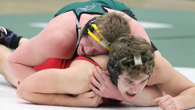 D.C. Everest's Berkley Corvino, top, enters the WIAA state individual wrestling tournament with a 38-3 record at 220 pounds.