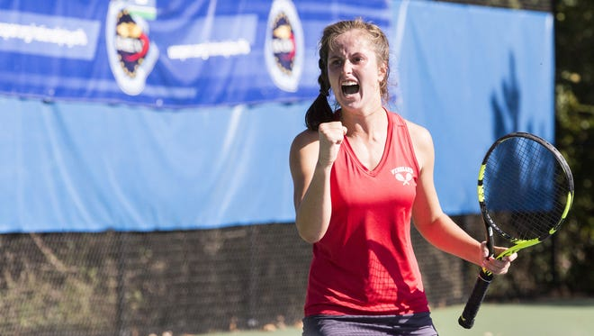 """Tess Fisher screams her signature """"Come on!"""" during the state singles final on Saturday at Mercer County Park."""