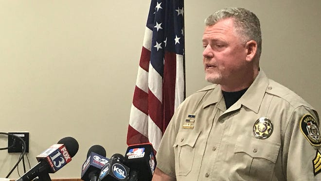 Washington County (Utah) Sheriff's Office Sgt. Aaron Thompson speaks to the media Tuesday, Dec. 26, 2017, about rescuing an 8-year-old boy on Christmas Day, Monday, Dec. 25, 2017.