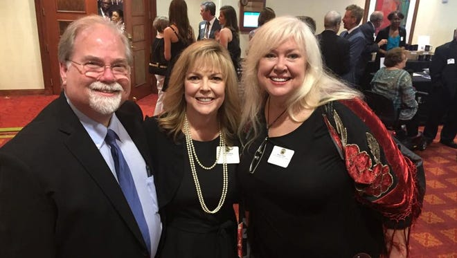 Former Channel 4 weatherman Mike Bohan, Jami Mayberry and Devon O'Day, who used to work together at The Big 98 WSIX, are enjoying the Tennessee Radio Hall of Fame inductions event held at Embassy Suites Hotel in Murfreesboro, Tenn. May 5, 2018.