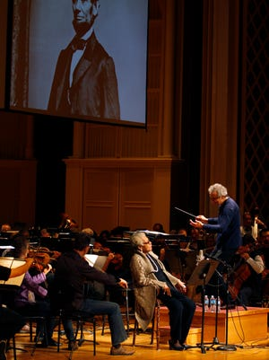 Dr. Maya Angelou during rehearsal of Copland's Lincoln Portrait, with Louis Langree and the Cincinnati Symphony Orchestra at Music Hall on Nov. 8, 2013.