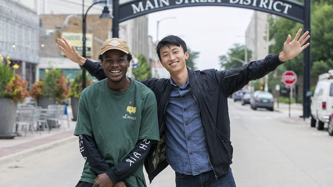 """Keire Johnson, left, and """"Minding the Gap"""" director Bing Liu, outside the Nordlof Center on Aug. 24, 2018. """"Minding the Gap"""" will be added to the Criterion Collection, which puts out carefully curated classic and contemporary films."""