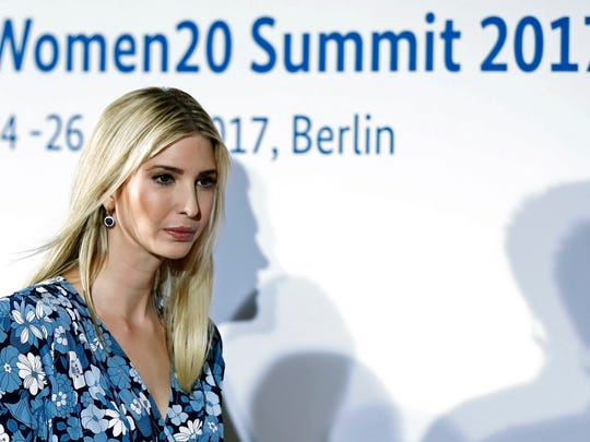 President Donald Trump's daughter and assistant Ivanka Trump, leaves the W20 Summit, after taking part in the panel 'Inspiring women: Scaling Up Women's Entrepreneurship', part of the Woman20 Germany 2017 forum, in Berlin, Germany, 25 April 2017. The W20 promotes women's economic empowerment as an integral part of the G20 process. Using digital tools and expert meetings, the experiences of women's civil society organizations and entrepreneur associations try to implement the G20 negotiations.  EPA/FELIPE TRUEBA