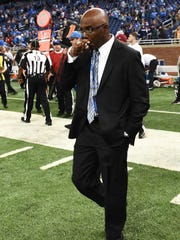 Detroit Lions general manager Martin Mayhew walks on the field after a game against the Minnesota Vikings at Ford Field.
