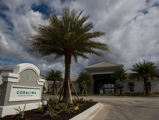 A view of the entrance and clubhouse of Coralina Apartments, Friday, Nov. 3. Part of the complex remains under construction in Cape Coral on Pine Island Road, just east of Burnt Store Road.