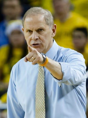 Dec 19, 2015; Michigan Wolverines head coach John Beilein reacts during the second half against the Youngstown State Penguins at Crisler Center. Michigan won 105-46.