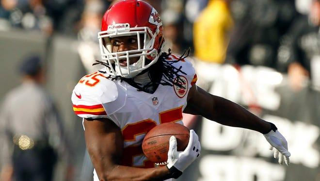 Kansas City Chiefs running back Jamaal Charles has 12 touchdowns this season.