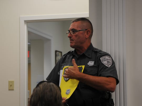Dagsboro Police Chief Floyd Toomey gave a presentation at the Frankford town council regular meeting on Aug. 7, describing ways that the Dagsboro and Frankford police departments could be united.