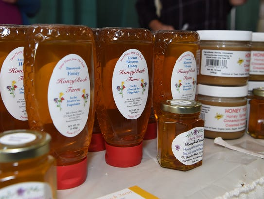 Some honey for sale from HoneyRock Farm in Ithaca at