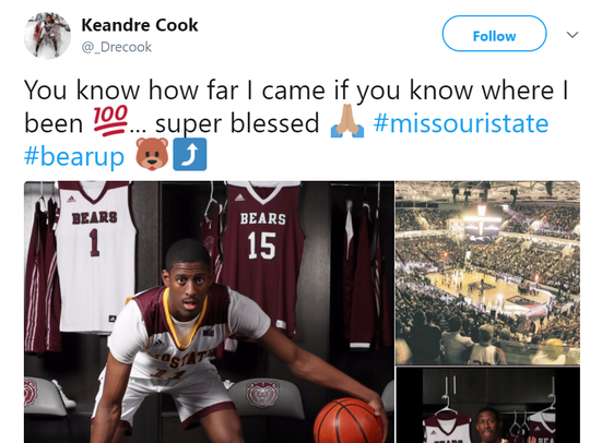Keandre Cook tweeted his decision to commit to Missouri State on April 15.