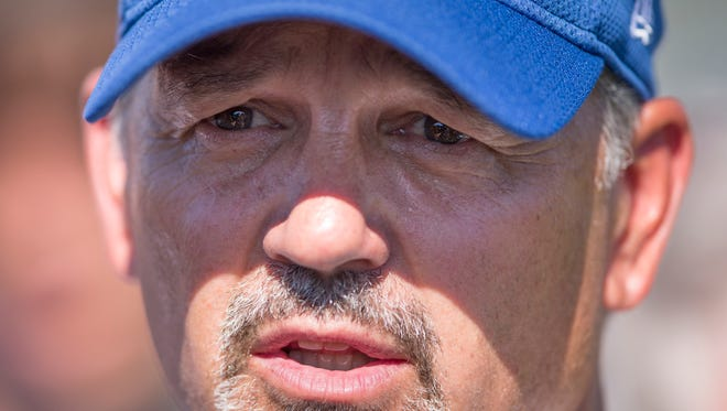 Chuck Pagano does interviews with media members at the end of Colts Camp at Anderson University, Anderson, Thursday, Aug. 11, 2016.