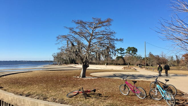 Visitors enjoy the view of Lake Ponchartrain from Fontainebleau State Park in Mandeville.