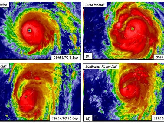 GOES-13 infrared satellite images of selected landfalls