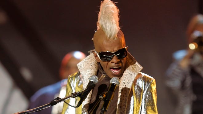 Sly Stone from the group Sly and the Family Stone performs at the Grammy Awards in Los Angeles.