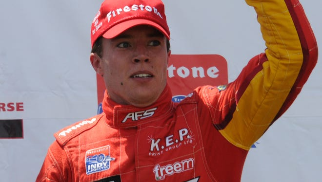 Martin Plowman won this Indy Lights race at Mid-Ohio in 2010.